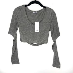 NWT Tobi | Grey Long Sleeve Crop Top XS